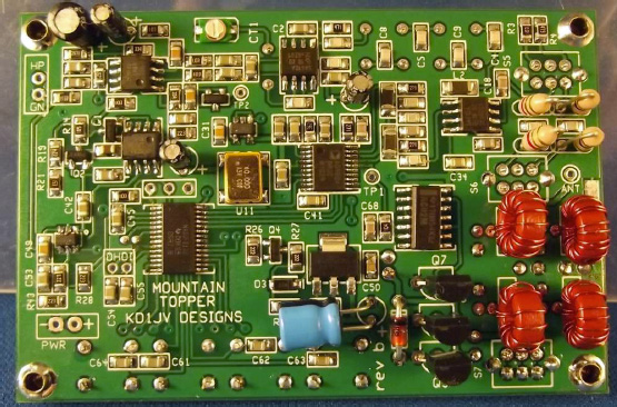 PCB of Steve KD1JV's popular MTR, 'a very small, very efficient, two band rig'
