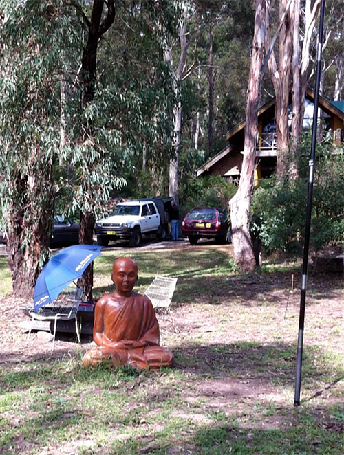My blissed-out second operator in the field at Bamarang, near Nowra NSW. He helped me retain my QRP calm.