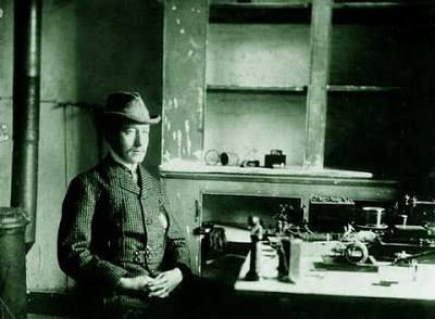Guglielmo Marconi in Newfoundland for the transatlantic tests on 12 December 1901