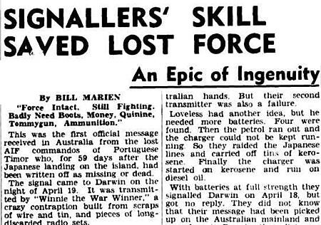 Report on Winnie the war winner in the Melbourne Argus for 1 Jan 1943 - page 12